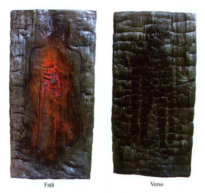 Fara Titlu, lemn carbonizat, acrilic 98x50x4