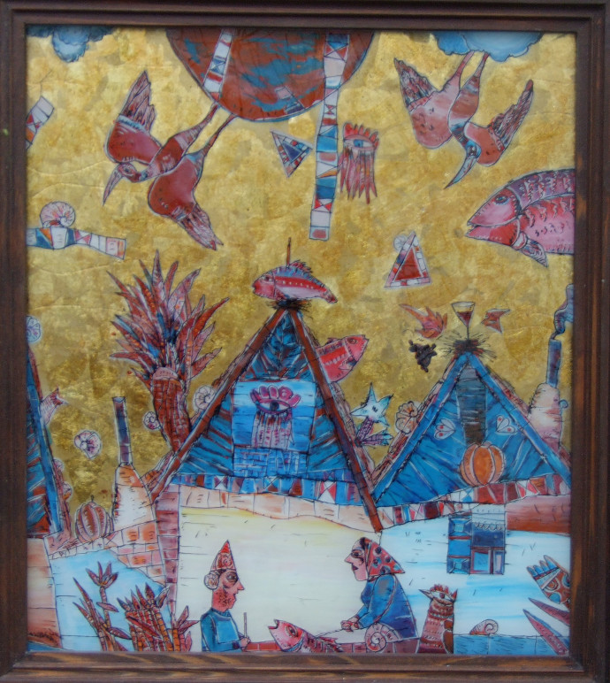 OAMENI ŞI CASE ÎN DELTA DUNĂRII, pictură pe sticlă, 40 cm x 35 cm - PEOPLE AND HOMES IN THE DANUBE DELTA, painting on glass, 40 cm x 35 cm
