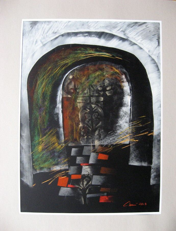 Poarta-Gate 50x70 pastel hartiepaper