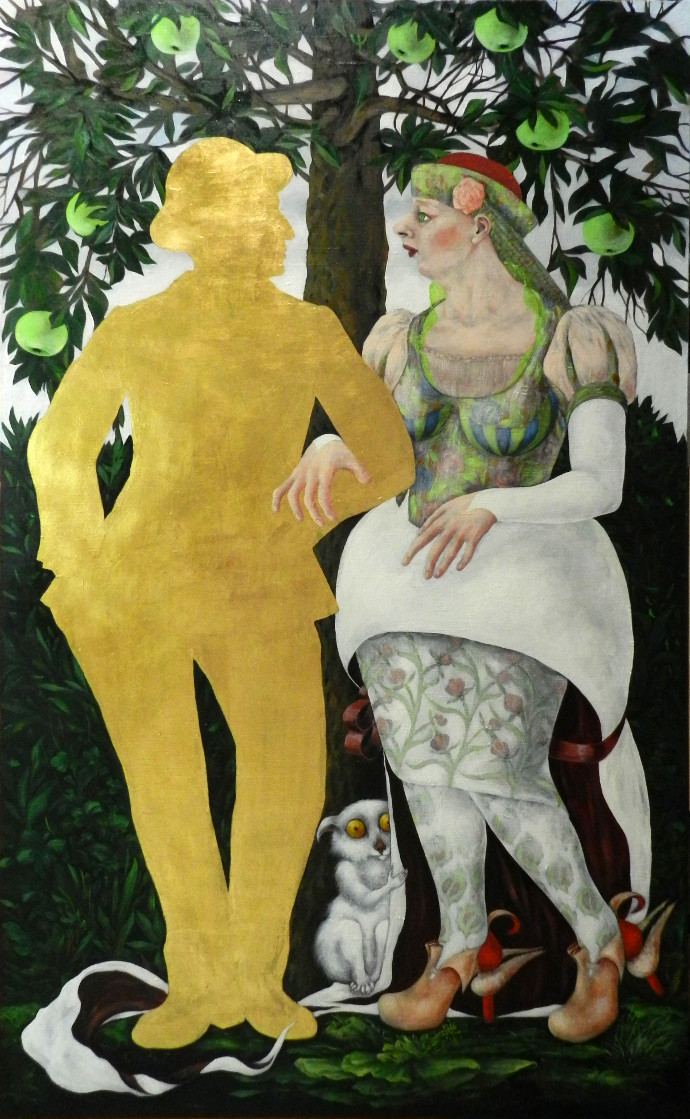 """OMUL DE AUR SAU LA POMUL LAUDAT""""THE GOLDEN MAN OR ON THE PRAISED TREE"" – ulei pe pânză – 145x89 cm"