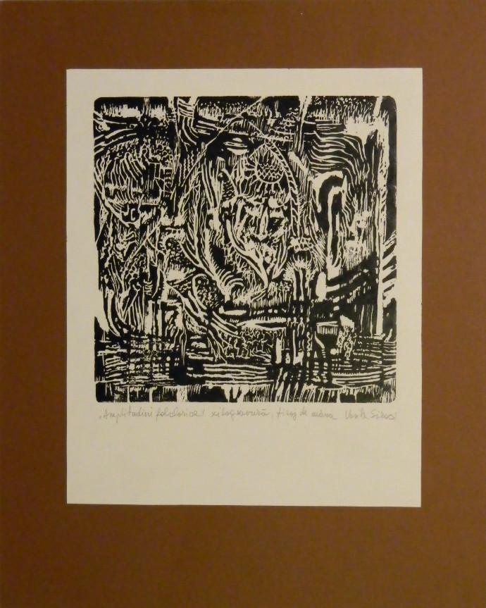Amplitudini folclorice - xilogravura pe hartie, tiraj de mana, 50 X 40 cm , Folkloric amplitudes- woodcut on paper, handmade, 50 X 40 cm,