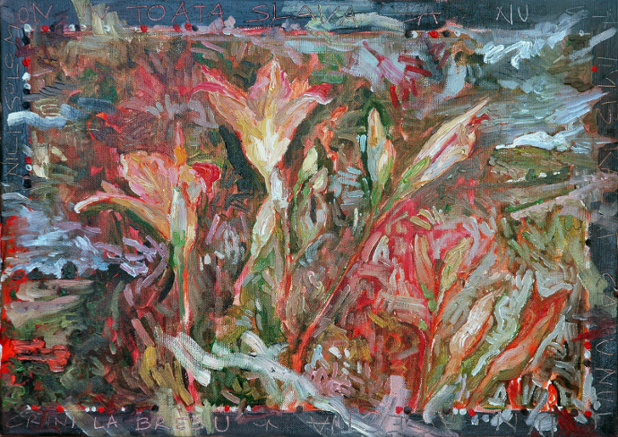 Brebu Nou - Crini - nici Solomon, 35 x 50 cm, Ulei pe panza, Weidenthal – Lilies - even Solomon, 35 x 50 cm, Oil on canvas