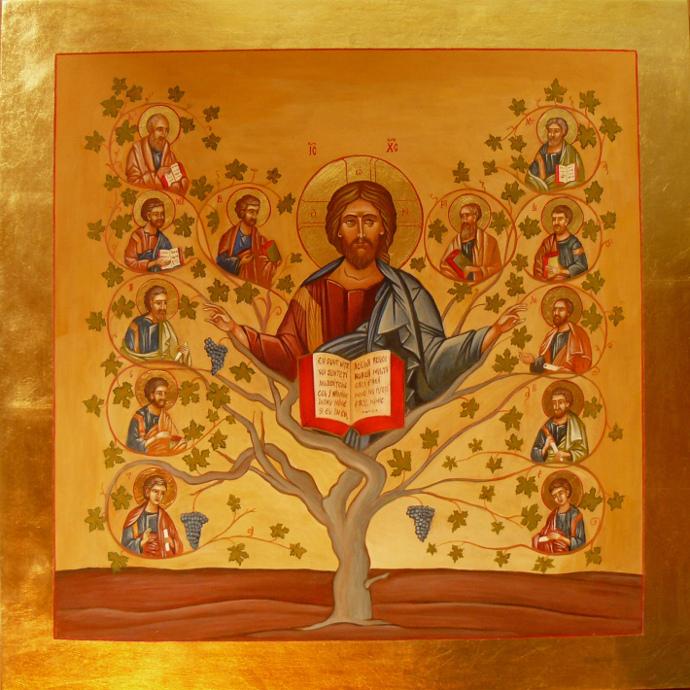 Isus cu vita de vie,  60x60 cm. tempera pe lemn cu emlsie de ou si foita de aur