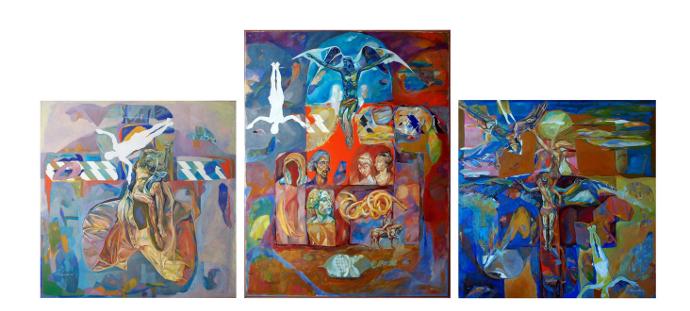 ,,Zborul lui Icar- 7'',triptic, 216x100cm,Radu Tikanete ,2008-2010