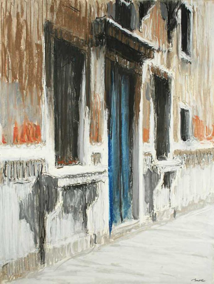 Dumitru-D.-Bostan,-The-blue-door,-soft-pastel-on-paper,-43X63-cm,-2011