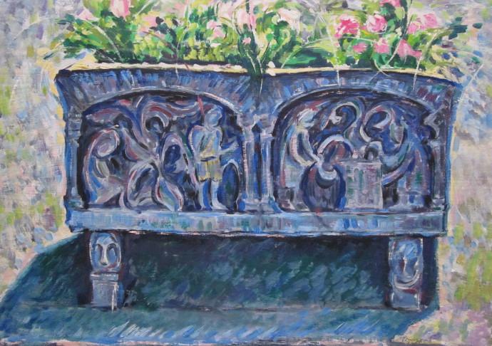 Mariana Cocos Piatra romanica, ulei pe carton 35x50 cm Romanesque stone, oil on cardboard