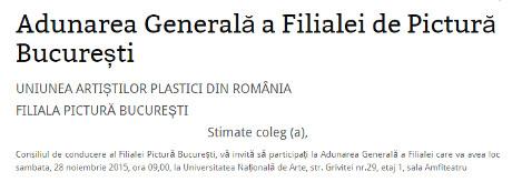 Adunarea Generală a Filialei de Pictură București
