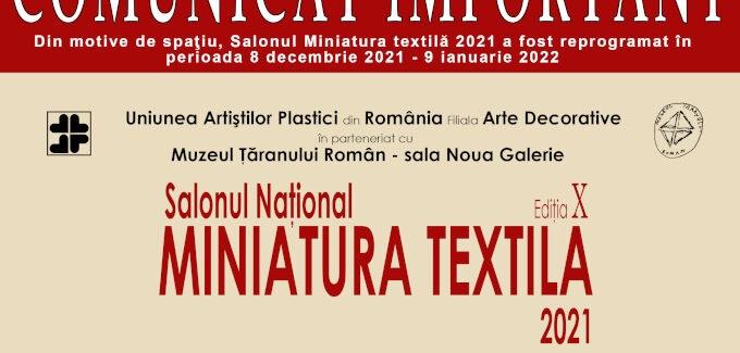Salonul Național Miniatura Textilă 2021 @ MȚR